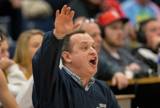Manasquan Head Coach Andrew Bilodeau. Manasquan Boys Basketball vs Holmdel in Shore Conference Tournament Semifinal in Toms River, NJ, on February 27, 2020.