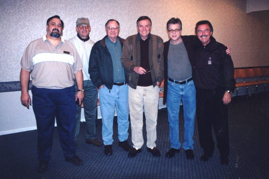 From left: volunteer driver Jim Jarrett, Woody Gilliland, James Hallmark, Peter Marshall, Brad Maule and Charlie Chase in an undated Rehab telethon photo op.