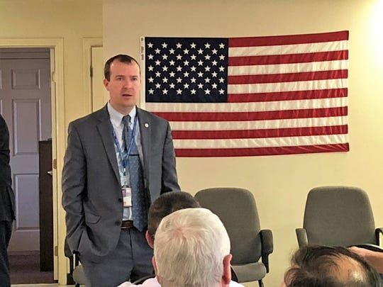 Jason Cave, interim director of the West Texas Veteran Affairs Health Care System headquartered in Big Springs, talked about a new Abilene clinic and other issues during a town hall Thursday at the Military Veteran Peer Network in Abilene.
