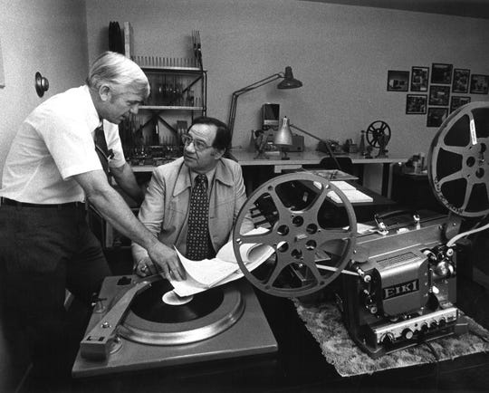 David Dodge and James Hallmark, seated and media coordinator for the West Texas Rehabilitation Center, are in the sound film lab at the center in January 1978. Promotional films for the WTRC were produced here.