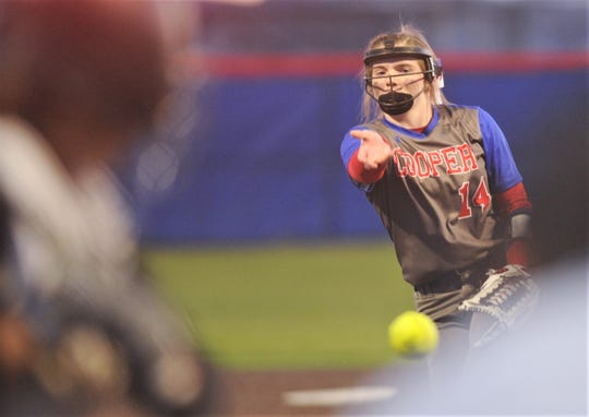 Cooper pitcher Summer Simmons throws a pitch to a Lubbock High batter in the first inning of the Ice Breaker softball tournament game Thursday at Cougar Diamond. Cooper won the game 7-1, though it only went four innings and didn't count as an official game.