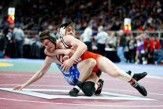 Norwich's Mikey Squires wrestles Onteora's Nate Ross during the quarterfinal round of the Division II NYSPHSAA Wrestling Championships on Friday, Feb. 28, 2020 at the Times Union Center in Albany. Squires defeated Ross 6-5.