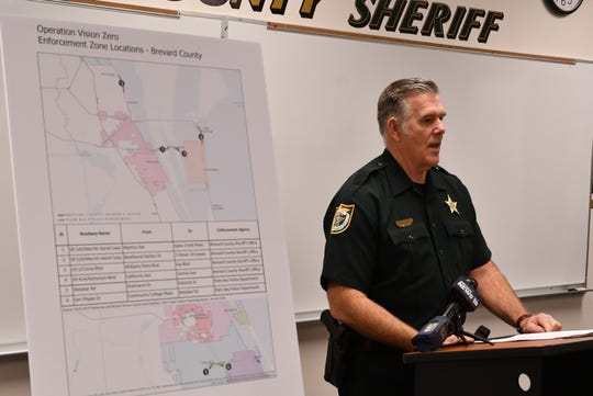Tod Goodyear, Brevard County Sheriff's Office spokesman, discusses Operation Vision Zero during a press conference Friday at the sheriff's Merritt Island precinct.