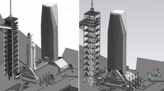 A SpaceX rendering shows pad 39A with the existing service tower to the left with the proposed new mobile service tower to the right. The new tower would allow for vertical integration of Falcon rockets.