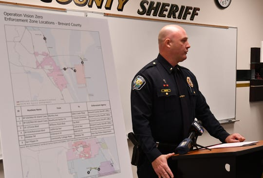 Palm Bay Police Lt. Michael Smith discusses Operation Vision Zero during a press conference Friday at the sheriff's Merritt Island precinct.