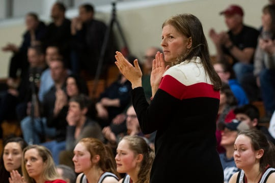 CVU head coach Ute Otley watches the action on the court during the girls basketball game between the Champlain Valley Union Redhawks and the Rice Green Knights at Rice Memorial High School on Thursday night February 27, 2020 in South Burlington, Vermont.