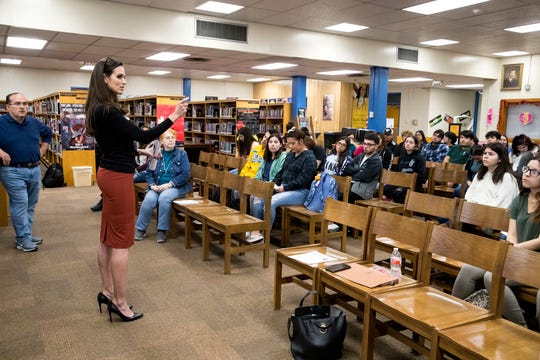 Nueces County Clerk Kara Sands talks with Moody High School students about the election clerk program on Jan. 31, 2020.
