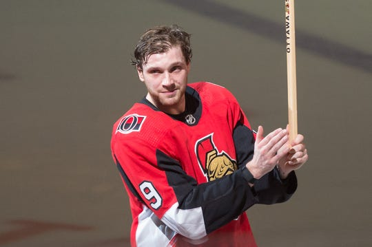 Bobby Ryan was named the first star Thursday night as he had a hat trick in his first home game with the Ottawa Senators since returning from a battle with alcohol addiction.