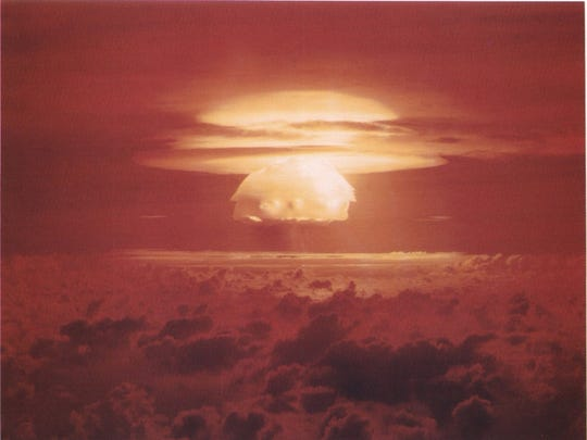 A mushroom cloud formed during the nuclear weapons test Castle Bravo on Bikini Atoll on March 1, 1954.