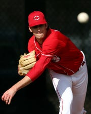 Cincinnati Reds non-roster invitee pitcher Nick Lodolo (86) delivers in the bullpen, Sunday, Feb. 23, 2020, at the baseball team's spring training facility in Goodyear, Ariz.
