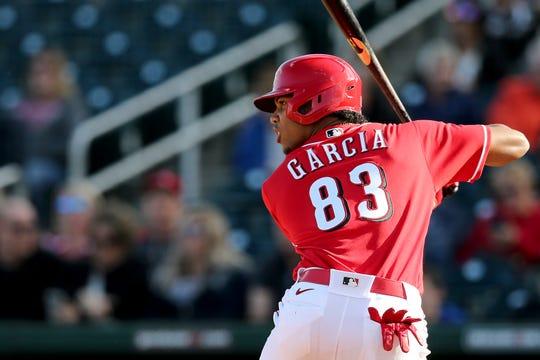 Cincinnati Reds shortstop Jose Garcia (83) bats during a Cactus League spring training baseball game, Sunday, Feb. 23, 2020, at Goodyear Ballpark in Goodyear, Ariz.