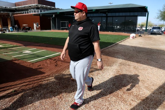 Cincinnati Reds minor-league pitching coordinator Kyle Boddy walks around the bullpen during spring practice, Sunday, Feb. 23, 2020, at the baseball team's spring training facility in Goodyear, Ariz.