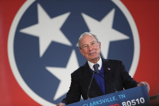 Mike Bloomberg readies to speak at Old Glory Distilling Co. in Clarksville, Tenn., on Friday, Feb. 28, 2020.