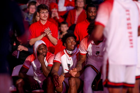 APSU players watch an intro video before the reading of their names in an OVC basketball game between the Austin Peay Governors and  at the APSU Dunn Center in Clarksville, Tenn., on Thursday, Feb. 27, 2020.