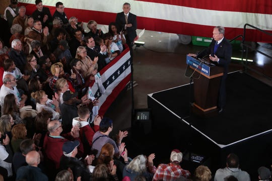 Mike Bloomberg addresses the crowd at Old Glory Distilling Co. in Clarksville, Tenn., on Friday, Feb. 28, 2020.