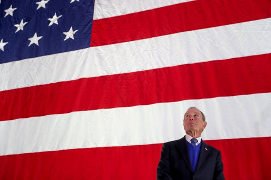 Mike Bloomberg looks to the crowd gathered for the stop at a Bloomberg campaign rally at Old Glory Distilling Co. in Clarksville, Tenn., on Friday, Feb. 28, 2020.