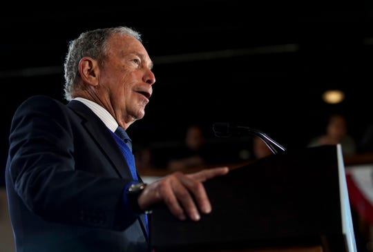 Mike Bloomberg addresses supporters from the podium at a Bloomberg campaign rally at Old Glory Distilling Co. in Clarksville, Tenn., on Friday, Feb. 28, 2020.