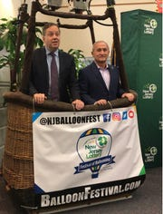 The New Jersey Festival of Ballooning announced Friday that the New Jersey Lottery will be its new title sponsor. Pictured here is New Jersey Lottery Executive Director James A. Carey, left, and balloon festival Executive Producer Howard Freeman.