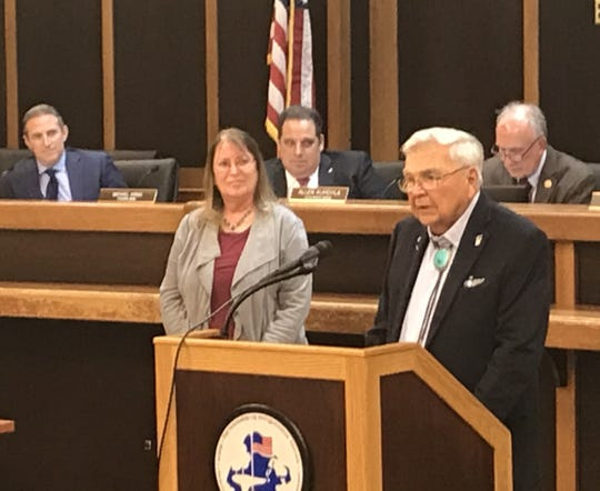 Bob Vaucher, 101-year-old  Foothill Road resident and World War II flying ace, speaks at Thursday's Bridgewater Township Council meeting about the importance of preserving the Wemple estate.