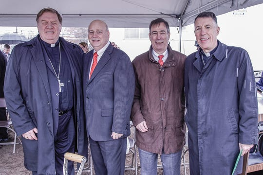 Cardinal Joseph W. Tobin, Archbishop of Newark; John Westervelt, President, Domus Corporation; Gary Hoagland, President, Metuchen Community Service Corp., and the Most Rev. James F. Checchio, Bishop of Metuchen, attended a groundbreaking ceremony for the St. Paul the Apostle Senior Residence in Edison.