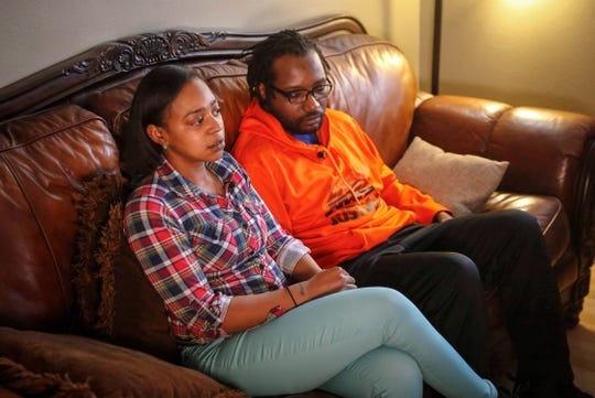 Tashawnda Johnson and Nick Logan, parents of a Des Moines student, speak out about a sexual abuse case leveled against a teacher during an interview on Friday, Feb. 28, 2020.