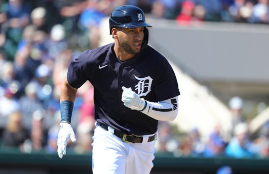 Tigers right fielder Victor Reyes singles during the first inning on Friday, Feb. 28, 2020, in Lakeland, Florida.