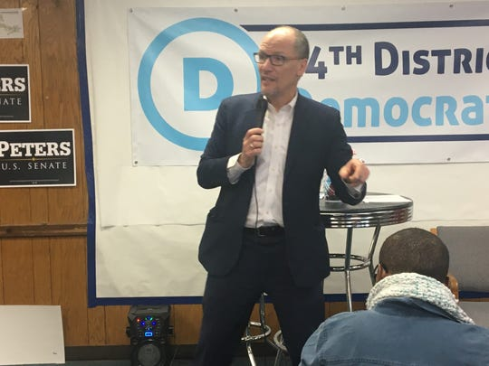 Democratic National Committee chairman Tom Perez speaks to Democrats in Detroit on Friday, Feb. 28, 2020.