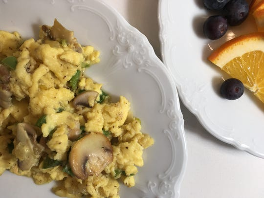 Ricotta cheese scrambled eggs is a nutritious breakfast option.