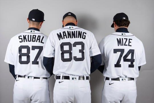 Detroit Tigers pitchers Tarik Skubal, Matt Manning and Casey Mize on media day in Lakeland, Fla. on Thursday, Feb. 20, 2020.