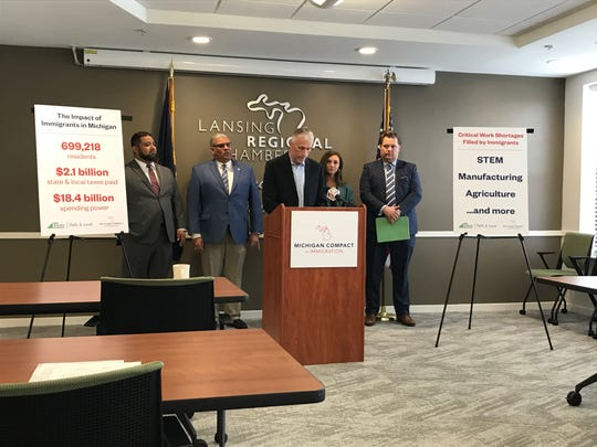 Tim Daman, President and CEO of the Lansing Regional Chamber, speaks on Feb. 27, 2020, in support of the Michigan Compact on Immigration, at a press conference at the Lansing Chamber of Commerce. He's joined by other business leaders who said immigrants play a positive role in Michigan's economy.