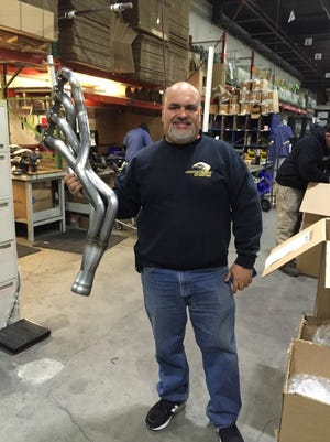 Nick Filippides in the Quality Control and shipping area of his business American Racing Headers in Deer Park, New York.