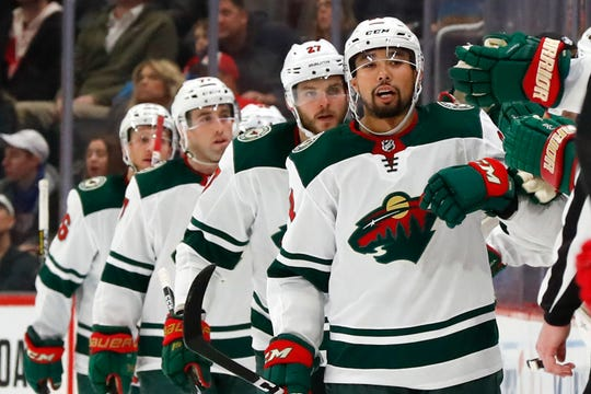Minnesota Wild defenseman Matt Dumba celebrates his goal against the Detroit Red Wings in the second period.