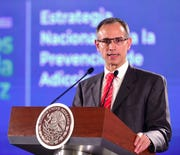 Hugo Lopez-Gatell Ramirez, Mexico's undersecretary of Health Prevention and Promotion, speaks during the daily press briefing at the National Palace in Mexico City in this Aug. 2, 2019, file photo. Ramirez announced Friday, Feb. 28, 2020, that the country now has two confirmed cases of the new coronavirus.