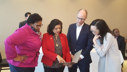Michigan Democratic Party chair Lavora Barnes, left, joined state Rep. Padma Kuppa, D-Troy, as well as Democratic National Committee chair Tom Perez and state Sen. Stephanie Chang, D-Detroit, at a Friday, Feb. 28, 2020 forum in Farmington Hills.