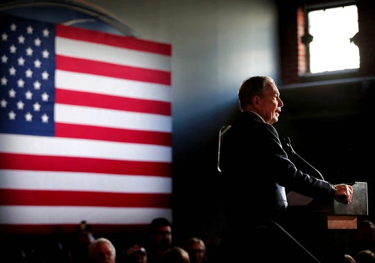 Bloomberg fans gather at Minglewood Hall as Democratic presidential contender Michael Bloomberg delivers his stump speech during a campaign stop in Memphis, Tenn. on Feb. 28, 2020.
