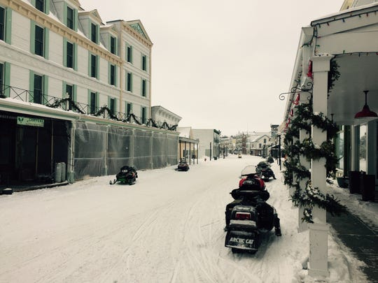 Snowmobiles are the main form of transportation on Mackinac Island in the winter.