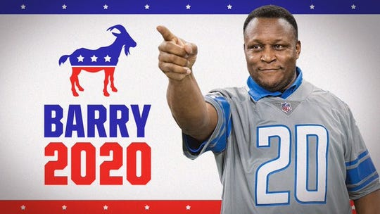 "The Lions created a ""campaign poster"" for Barry Sanders."
