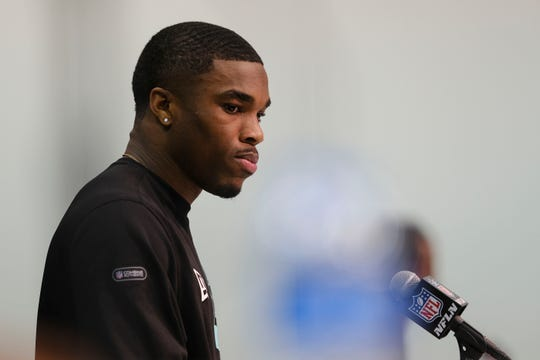 Ohio State defensive back Jeff Okudah speaks during a news conference at the NFL Combine on Friday.