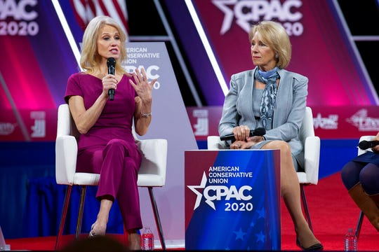 White House counselor Kellyanne Conway accompanied by Education Secretary Betsy DeVos speaks during the Conservative Political Action Conference, CPAC 2020 on Thursday, Feb. 27, 2020.
