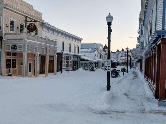 Mackinac Island's Main Street in the winter looks like a movie set for a ghost town.