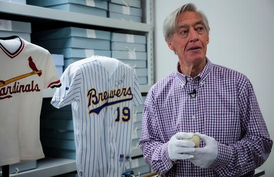 In this image provided by National Baseball Hall of Fame, Ted Simmons, a Southfield native, tours the museum.