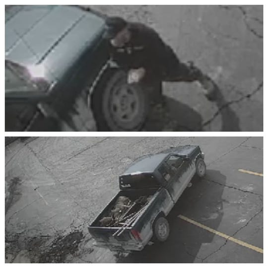 The suspect and his truck were captured on a surveillance camera.