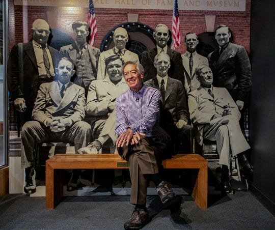 In this image provided by National Baseball Hall of Fame, Ted Simmons poses during a tour Thursday.