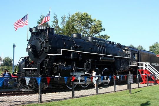 The Pere Marquette 1223 is seen on permanent display in western Michigan.