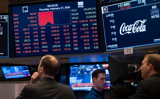 Stocks reflect declines on monitors as people work on the floor of the New York Stock Exchange Thursday.