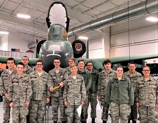 Members of the Twin Tiers Cadet Squadron of the Civil Air Patrol take part in an event at the Wings of Eagles Discovery Center in Big Flats.