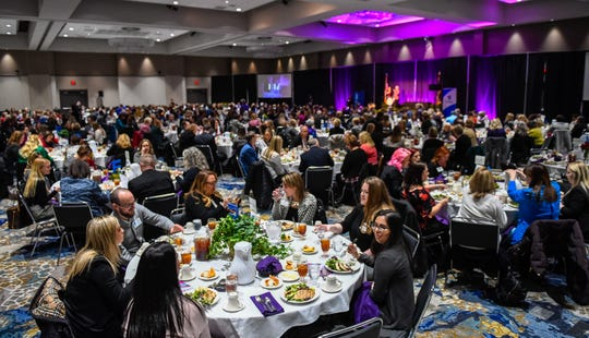 A packed house in the Old National Events Center ballroom for the 30th annual Athena Awards Luncheon featuring six Evansville women leaders Friday, February 28, 2020.
