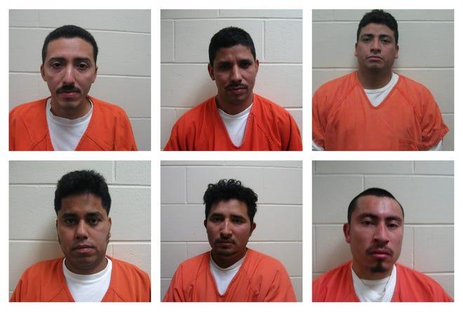 Top row, from left: Ember Rivera, Avelino Sarceno-Sarceno and Evis Amabilio Garcia-Rivera. Bottom row, from left: Rolando Corado-Gonzalez, Noe Bautista-Martinez and Esler Hugo Rivera.
