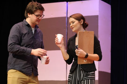 """St. Joseph Central Catholic seniors Joe Rich and Karli FIsher rehearse for an upcoming performance of """"Freaky Friday,"""" the school's spring musical to be presented March 6 and 7."""