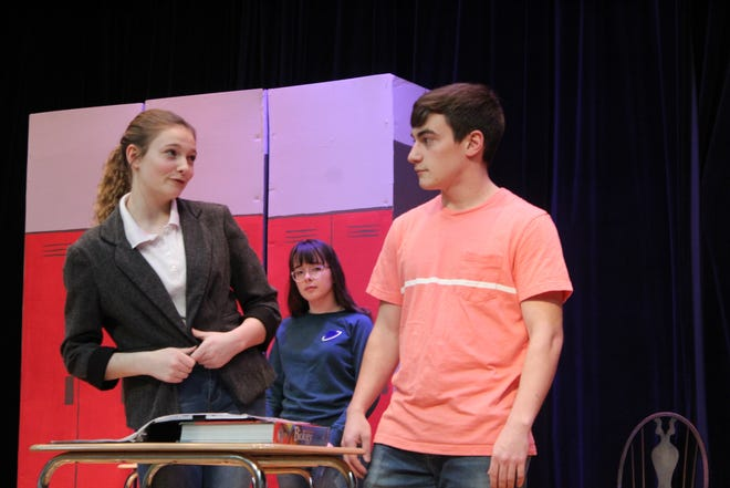 "SJCC's spring musical ""Freaky Friday"" will be performed Friday, March 6 at 7 p.m. and Saturday, March 7 at 2 and 7 p.m. Elizabeth Rellinger, left, plays Ellie and Alex Baez portrays Adam in the school's production."